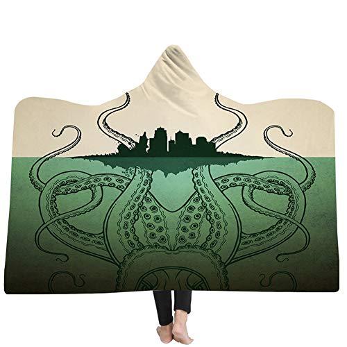 König Ultra Plüsch (JYDAN Erwachsene Warm Decke mit Kapuze Tintenfisch Drucken 100% Weich Warm Ultra Plüsch Sofa Mittagessen Brechen Sherpa-Vlies Decken,B,150 * 130CM)