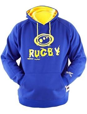 Optimum Rugby - Sudadera con capucha para niño Azul/amarillo Talla:mini