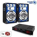 PA Set Blue Star Series Basscore Bluetooth PA Komplettset DJ Partyanlage mit Boxen und Verstärker (700W Bluetooth-Endstufe, USB-SD-Slots, Radio, musikgesteuerter LED-Lichteffekt)
