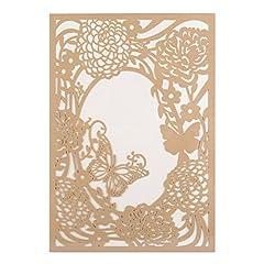 Idea Regalo - Wolfteeth 20 Inviti da matrimonio Cartolina di Auguri con buste, inserti di carta per anniversario celebrazioni(oro)