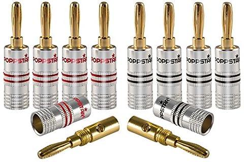 Poppstar 10x Bananenstecker, Bananas für Lautsprecherkabel (bis 6 mm²), AV Receiver, 24k vergoldet (5x schwarz, 5x rot)