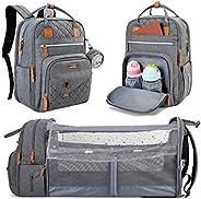 حقيبة ظهر لحفاضات Lekebaby مع محطة تغيير، حقيبة حفاضات الأطفال 3 في 1 مع سرير سفر وحمالات عربة للأطفال للأم، س