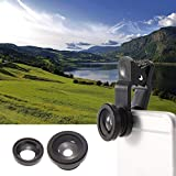 Phone Camera Lens Kit - Universal 3 in 1 Cell Phone Camera Lens Kit - Fish Eye Lens / 2 in 1 Macro Lens & Wide Angle Lens / Universal Clip Lens with M