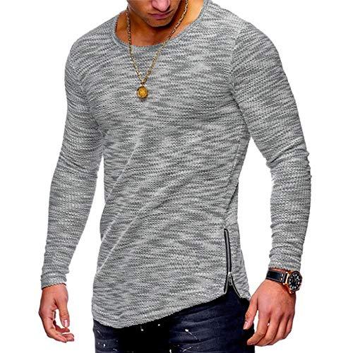 MOIKA Herren Pullover Basic O-Neck Sweater Männer Casual Herbst Langarm Slim Fit Reißverschluss Farbe Garn Tops Bluse Shirts