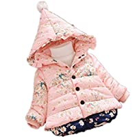 Nine Minow Baby Winter Floral Print Cotton Down Hooded Parkas Girls Snow Wear Outerwear (Pink, 9-12 Months)