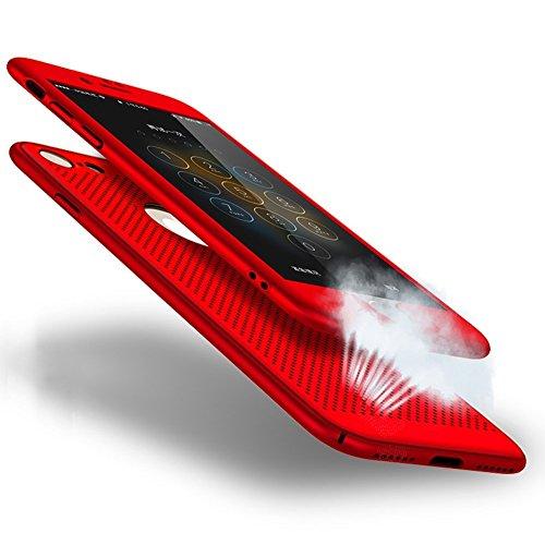 Ysimee Compatible avec Coque iPhone 8 Plus/iPhone 7 Plus 360 Degrés Double Face avec Film d'acier Étui de Couverture Anti Scratch et Anti Choc TPU Bumper Shell Avant et Arrière Dur PC Case,Rouge