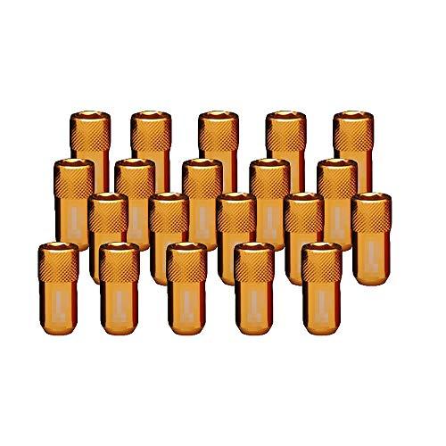 LIDAUTO éCrous de Roues Haute dureté Vis Anti-vol Alliage d'aluminium M12 * 1,5 / M12 * 1,25 (40MM),Golden,M12*1.5