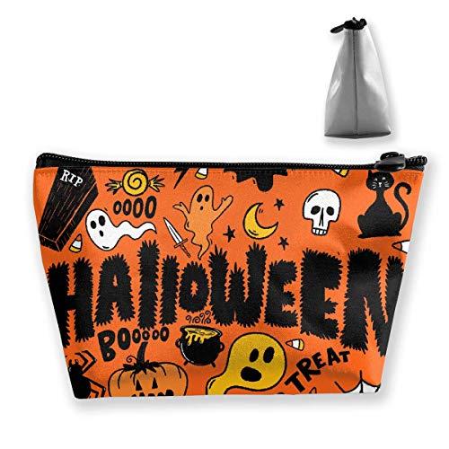 Cartoon Halloween Ghosts Collage Women Cosmetic Bags Multifunktions-Kulturbeutel Organizer Travel Wash Lagerung (Trapez) (Ghost Halloween Cartoon)