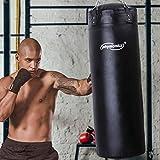 Physionics Sac de Frappe Plein | Chaîne de Suspension et Mousqueton Inclus, 100 x 35 cm, 27 kg | Punching Bag | MMA, Muay Thai, Kickboxing, Arts Martiaux