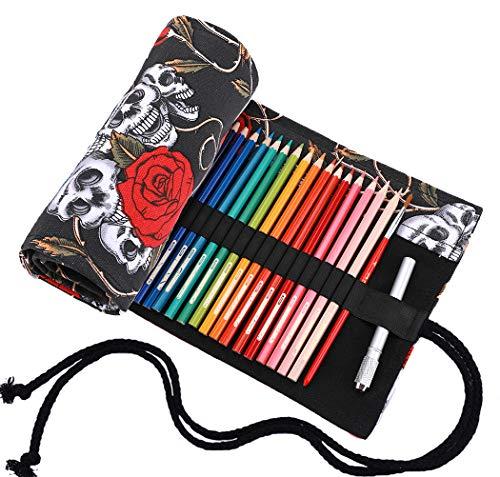 Amoyie Sacchetto della Matita Tela Rotolo Astuccio per 36 matite Colorate (No Inclusa matite) - Cranio Rosa 36