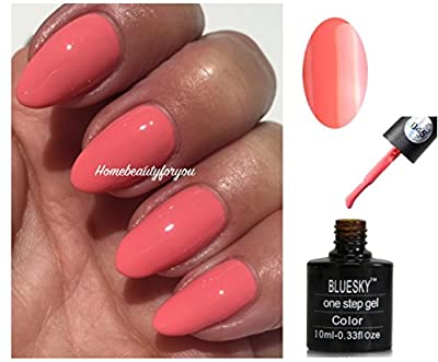 Bluesky One Step 45 Coral Peachy Pink Smooth Satin Nail Gel Polish UV LED Soak Off 10ml