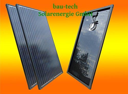 bau-tech Solarenergie 2 Stück 130W Full Black/Schwarzes Monokristallines Solarpanel 12V Solarmodul Solarzelle 100Watt für Camping, Caravan, Garten GmbH 130w Solarpanel