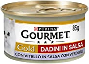 Gourmet Purina Gold Umido Gatto Dadini in Salsa con Vitello in Salsa con Verdure - 24 Lattine da 85 g Ciascuna