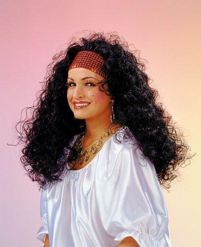 Festartikel Müller Karneval Damen Perücke Esmeralda rotes Stirnband mit schwarzem Haar