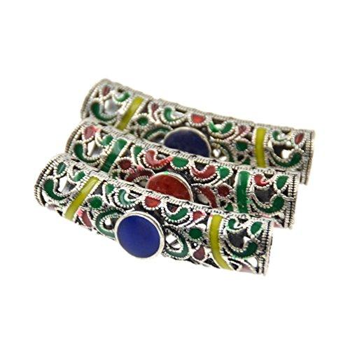 Hongma 3x Haarperlen Dreadlocks Metall farbig Haarschmuck Accessoires Unisex
