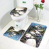 Tappetino WC Set di 3, Moon mood® Tappetino da bagno + Coperchio WC Cover + Piedistallo Tappeto Accessori per il Bagno Mat Copriwater e copri Serbatoio per WC Oceano Stile