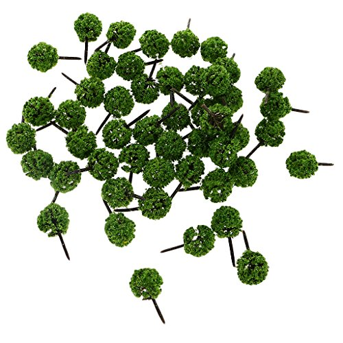 C2K 50 Pieces of Ball Shaped Model Trees for DIY Layout Train Railway Garden Park Architecture Building Landscape Scenery 1:150 N Scale Light Green