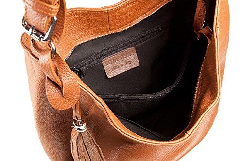 PELLE ITALY Shopper Tasche Leder PI10094 Damen Beuteltasche Echtes Leder 32x30x15 cm (BxHxT), Farbe:Bordeaux Blau