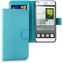 kwmobile Funda para Huawei Ascend G7 - Wallet Case plegable de cuero sintético - Cover con tapa tarjetero y soporte en azul claro