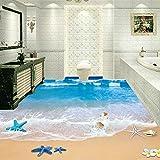 Benutzerdefinierte 3D Boden Wandbilder Tapete Strand Bad Wasserdicht Boden Aufkleber Pvc Selbstklebende Wandbild 3D Home Decor 140cm(L) X100cm(W)