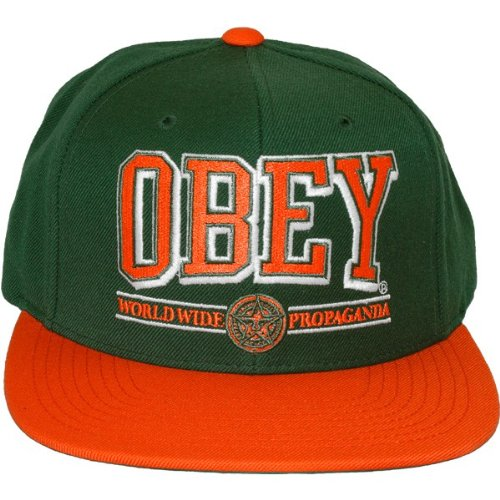 Obey - Casquette Snapback Homme Obey Athletics - Green/Orange