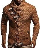 LEIF NELSON Herren Strickjacke Hoodie Jacke Pullover Kapuzenpullover Winterjacke Freizeitjacke; Größe XX-Large, Camel