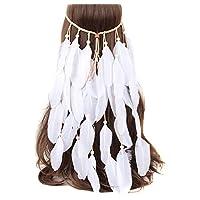 TININNA Indian Headdress Women Bohemia White Feather Tassel Headband Wedding Headbands for Bride Party Headwear Hair Styling Accessories
