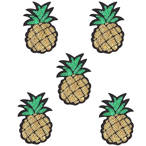 Demarkt 5 Stück Patches Bestickte Aufnäher Obst Patches Nähen Patch Sticker Applique Badge für Kleid Hut Schuhe Jeans DIY Kostüm Schmücken (Ananas)