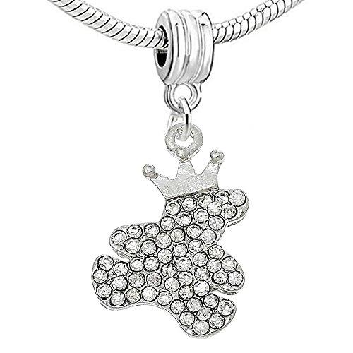 Sexy paillettes Femme Ours pour bracelets de charme silver color bear