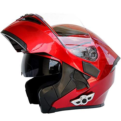 Casco moto Bluetooth, Bluetooth integrato modulare anti-nebbia doppia lente Bluetooth casco integrato design Bluetooth helm (dimensioni : L.)