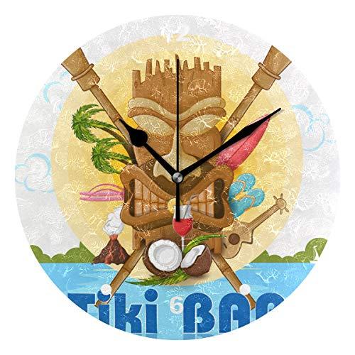 Regal Insel Licht (SUNOP Uhr für Kinder, mit Öl Bedruckt, 1 Tropische Ozean-Inseln, Hawaii Tiki Bar, Wanduhren für Wohnzimmer, Schlafzimmer und Küche, Vintage Schreibtisch & Regal Uhren)