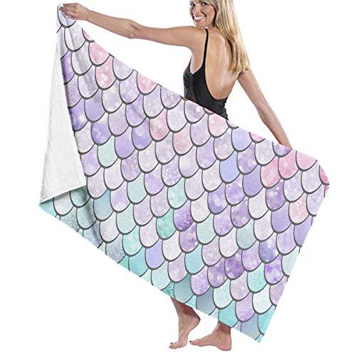 Serviette de bain, Beach Towels Decor Polyester Fiber Colorful Mermaid Fish Scales Serviette de bain,s Oversized Soft, High Absorbent, Eco-Friendly Printed Serviette de bain,,Quick Dry 31.5'x51.2'