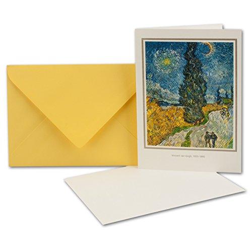 Original Artoz Kunstkarten-Set   3er-Set   Vincent Van Gogh - Strasse mit Zypressen und Stern   hochwertige Doppelkarten mit Einlegeblatt und Umschlag im DIN B6 Format -