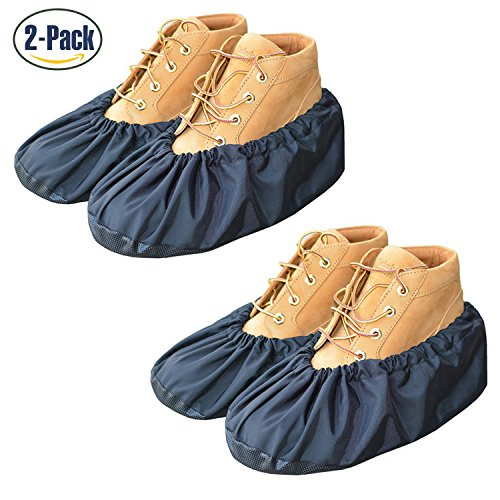 YOUTU AntiSlip Anti-Rutsch Schuhüberzieher,überschuhe überzieher Schuhüberzieher Shoe Cover Hülle,wiederverwendbar überschuhe Staubfrei,Für die meisten erwachsenen, unisex - schwarz (2 Paare)