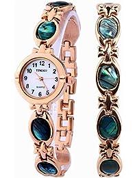 b26384126044 Time100 Reloj pulsera de joya concha para mujer
