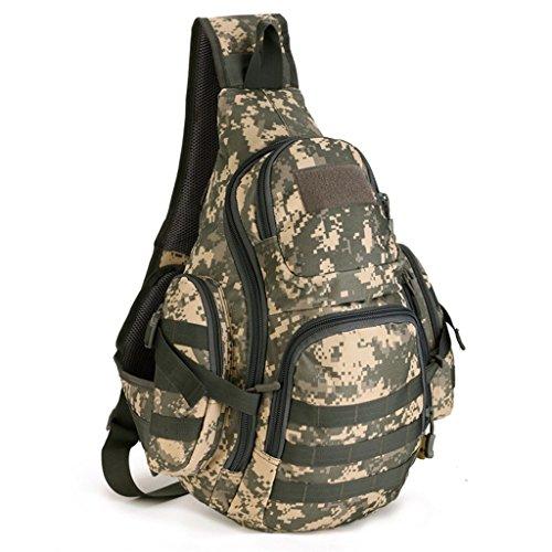 cinmaul singola spalla Crossbody petto Borsa caccia campeggio trekking Heavy Duty Corriere Militare Tattico Sport Sopravvivenza Pack, Uomo, Jungle Camouflage ACU Camouflage