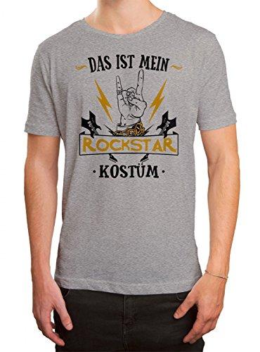 Kostüm Rockstar Premium T-Shirt | Verkleidung | Karneval | Fasching | Herren | Shirt, Farbe:Graumeliert (Grey Melange ()