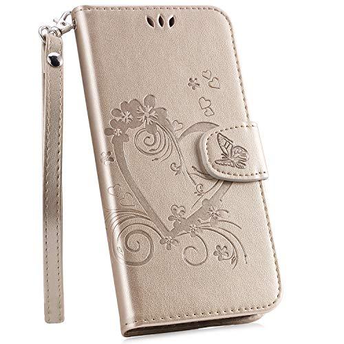 Ysimee Hülle kompatibel mit Galaxy J6 2018, Herz-Design Einfarbig Leder Tasche Handyhülle Flip Ständer klapphülle Card Holder Schutzhülle Schlanke Brieftasche + 1 X Stylus Pen, Gold -