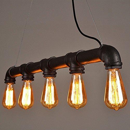 Fünf-licht-leuchter-glühlampen (Lightess Retro Klassische Wasserrohr Geformt Hängelampe Industrie rétro Rustic Steampunk Metallwasserrohr Retro Decke hängende 5 Lichter Edison-Lampe Kronleuchter, Schwarz)