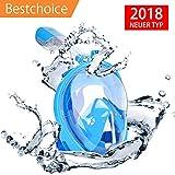 Maxxrace 2018 Neuesten Design Schnorchel Maske,Tauchmasken und Panorama Vollmaske mit 180° Panoramablick, Anti-Fog und Anti-Leak Design für Kinder und Erwachsene, GoPro kompatibe(M/S)