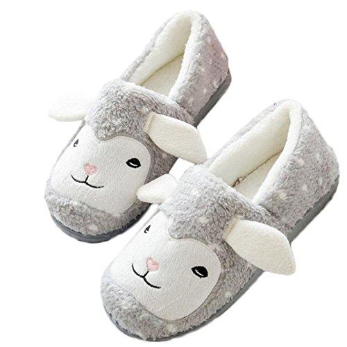 MSYOU Hausschuhe in Tierform, bequem, rutschfest, für Herbst/Winter, Hausschuhe für Damen und Mädchen, Größe 10 (Grau) 36-37 grau