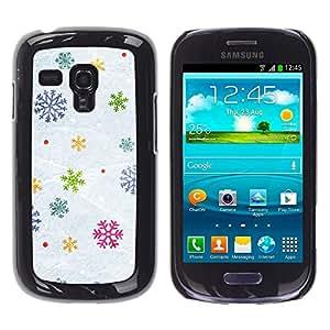 ZONECELL (Nicht für S3 i9300) Bild Hart Handy Schwarz Schutz Hülle Case Cover Schale Etui für Samsung Galaxy S3 MINI I8190 I8190N - Schneeflocken Schnee Winter gift Weihnachten