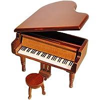 Preisvergleich für Retro Aufzieh Klavier aus Holz Spieluhr, Holz Simulation Geschenk Musik Box, Kiss the Rain Spieluhr Wood-Silvery