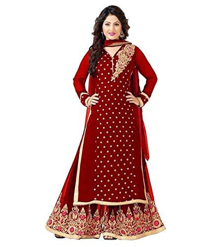 FebForrest Womens\'s Red Georgette Attractive Workwear Dress Materials/Salwar Suit (Free Size) [JCN 1007G (FF_M1)]