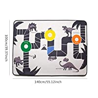 Loveinwinter Square Caricature Dinosaur Rug 100 x 140 cm Boys Bedroom Play Mat Crawling Mat