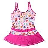 Mädchen Schwimmkleid Badeanzug Kinder Bademode Schwimmrock Einteiliger Schwimmanzug mit Rock (176, Herz rosa)