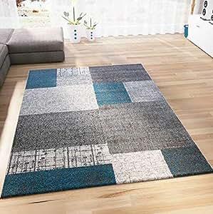 VIMODA Teppich Kurzflor in Türkis Blau Grau und Weiß Wohnzimmer Teppiche  Modern Kachel-Optik Pflegeleicht, Maße:120x170 cm