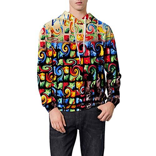 Herren Hoodie Kapuzenpullover Sweatshirt Pullover Streetwear Ölfarbprüfung 3D Drucken Elements -