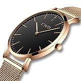 CIVO Unisex Herren Damen Uhren Ultra Minimalistische Dünne Rotgold Edelstahl Mesh Armband Wasserdicht Luxus Mode Armbanduhr mit Schwarze Zifferblatt Elegant Geschäfts Beiläufig Analog Quarz Uhren
