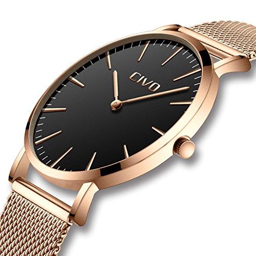 n Damen Unisex Uhren Ultra Dünne Minimalistische mit Edelstahl Mesh Armband Wasserdicht Luxus Mode Armbanduhr Elegant Geschäfts Beiläufig Quarz Uhren (3 Roségold/Schwarz) ()